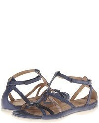Charcoal Leather Flat Sandals