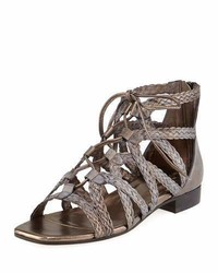 Gidget woven flat gladiator sandal pewter medium 3736082