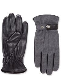 Dents Guildford Mlange Flannel And Leather Gloves