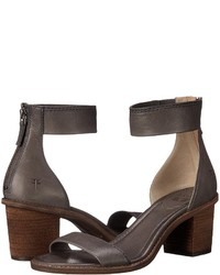 Charcoal Leather Heeled Sandals
