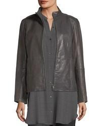 Rumpled leather zip front jacket medium 5053895