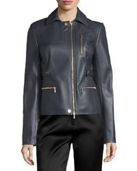 Zip pocket lamb leather field jacket charcoal medium 636830