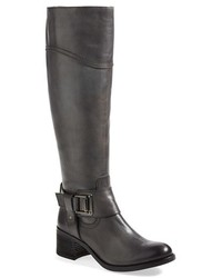 Charcoal Leather Knee High Boots