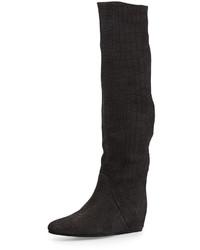 Croc embossed knee high wedge boot gray medium 675388