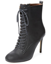 Charcoal Leather Lace-up Ankle Boots