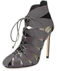 Francesco Russo Lace Up Cutout Ankle Boot Gray