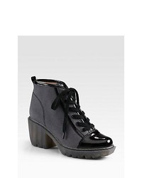 Opening Ceremony Grunge Canvas Patent Leather Lace Up Ankle Boots Black