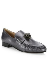 Valentino Panther Leather Loafers