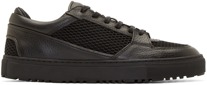 cc19a37f8ac ... Top Sneakers Etq Amsterdam Black Leather Mesh Low 3 Sneakers ...