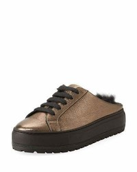 Brunello Cucinelli Fur Lined Metallic Leather Slide Sneakers