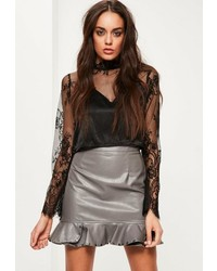 Missguided Grey Faux Leather Frill Hem Stud Mini Skirt