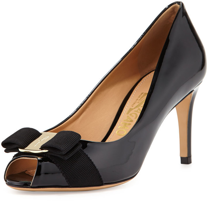 Salvatore Ferragamo Pola Patent Peep Toe Bow Pump Nero - Where to buy