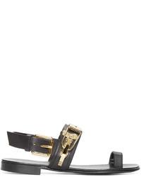 Giuseppe Zanotti Black Leather Hardware Sandals