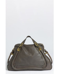 Charcoal Leather Satchel Bag
