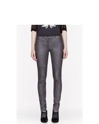 Charcoal Leather Skinny Pants