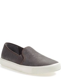 Charcoal Leather Slip-on Sneakers