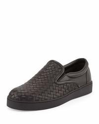 Bottega Veneta Woven Leather Slip On Sneaker