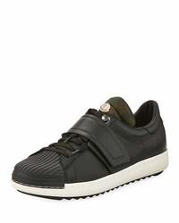 Moncler Arnoux Leather Grip Strap Sneaker Charcoal