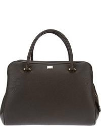 Charcoal Leather Tote Bag