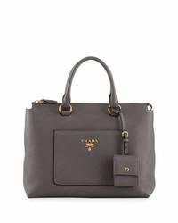 Prada Vitello Daino Zip Pebbled Leather Tote Bag Gray