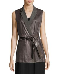 Scarlet tailored leather tie waist vest gray medium 3733560