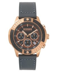 Versus Versace Admiralty Chronograph Leather Strap Watch
