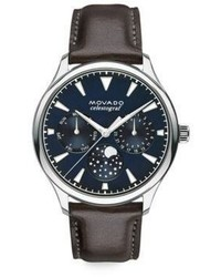 Movado Heritage Stainless Steel Leather Strap Celestograf Watch