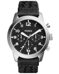 Fossil Pilot 54 Chronograph Leather Strap Watch 44mm