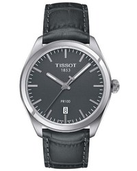 Tissot Pr100 Automatic Leather Strap Watch 39mm