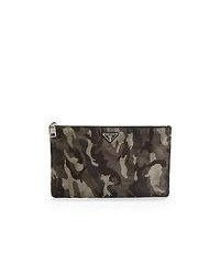 Charcoal Leather Zip Pouch