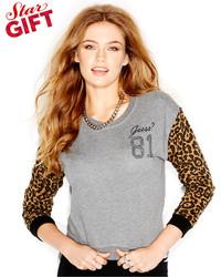 GUESS Long Sleeve Animal Print High Low Sweatshirt