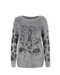 Mela New Look Grey Leopard Contrast Sleeve Fluffy Jumper