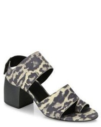 Ld Tuttle The Lace Leopard Print Leather Block Heel Sandals
