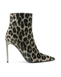 Stella McCartney Leopard Print Velvet Ankle Boots