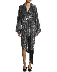 Michael Kors Michl Kors Collection Leopard Velvet Fil Coupe Kimono Wrap Dress