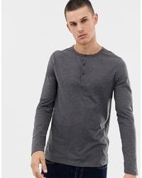 ASOS DESIGN Long Sleeve T Shirt With Grandad Neck In Grey