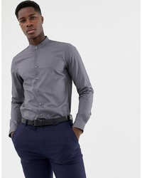 Calvin Klein Extra Slim Stretch Shirt Grandad Collar Grey