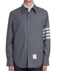 Thom Browne Four Bar Slim Fit Wool Shirt