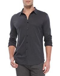 Star USA Knit Button Down Shirt Charcoal