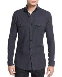 Tom Ford Brushed Twill Tailored Fit Sport Shirt Charcoal