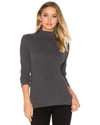 James Perse Brushed Turtleneck Long Sleeve Tee In Charcoal Size 0
