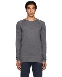 Ermenegildo Zegna Grey Mesh Long Sleeve T Shirt