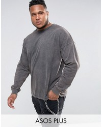 Asos Plus Oversized Long Sleeve T Shirt In Heavy Weight Jersey With Acid Wash