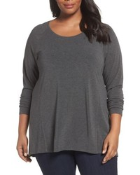 Plus size long sleeve raglan swing tee medium 5208997