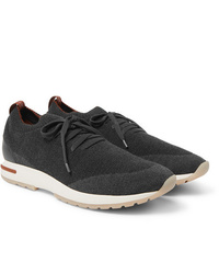 Loro Piana 360 Flexy Walk Leather Trimmed Knitted Wool Sneakers