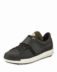 Moncler Arnoux Leather Grip Strap Sneakers Charcoal