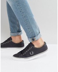 Fred Perry Underspin Canvas Sneakers In Charcoal 5c61b0f4530