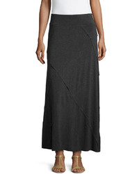 Neiman Marcus Layered Ruffled Maxi Skirt Swiss Coal