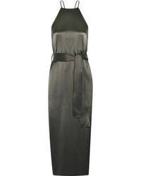 Heritage satin midi dress charcoal medium 1251726