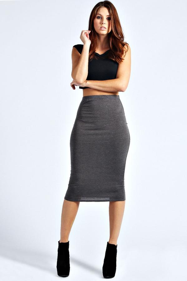 Boohoo Lexi Midi Jersey Tube Skirt | Where to buy & how to wear